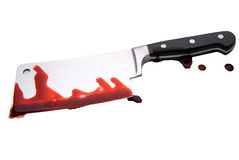 Lama di macellai sanguinante Fotografia Stock