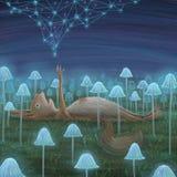 Lama, die in constellationsquirrel werd gevangen die sommige psychedelische paddestoelen at Stock Foto