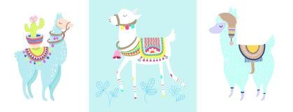 Lama drôle avec le cactus d'isolement sur l'animal blanc et bleu d'alpaga illustration de vecteur