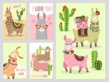 lama Dziecko lamy śliczna alpaga i kaktusa Peru dziki wielbłąd, dziewczyny zaproszenia wektoru partyjny set ilustracji
