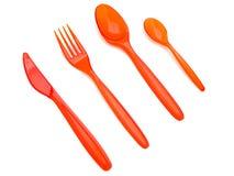 Lama e cucchiai di plastica della forcella Fotografie Stock Libere da Diritti