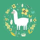 Lama en un fondo verde con las flores y las hojas Dise?o del vector ilustración del vector