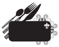 Lama, forchetta, cucchiaio e bandiera Fotografia Stock Libera da Diritti
