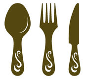 Lama, forchetta e cucchiaio Immagine Stock