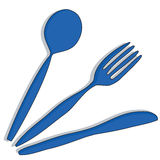 Lama, forchetta e cucchiaio Immagini Stock