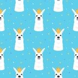 Lama i en sömlös modell för guld- krona förtjusande alpaca Barnsligt tryck för barnkammaren, affisch, t-skjorta stock illustrationer