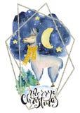 Lama mignon dans la citation tirée par la main de lettrage d'illustration de Joyeux Noël d'aquarelle jaune d'écharpe Photographie stock