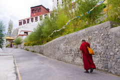 Lama monk walking Royalty Free Stock Images