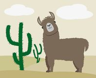 Lama o alpaga lanuginoso sveglio oltre al cactus illustrazione di stock