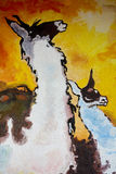 Lama painting. Lama oil painting with golden sky Stock Image