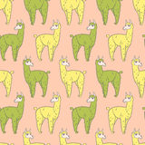 092 lama pattern 01. Vector pattern, seamless wallpaper with the image of a fluffy llama stock illustration