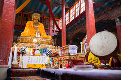 Lama praying in Hemis gompa Stock Photo