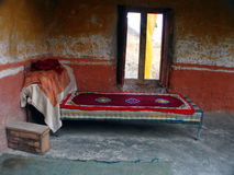 The Lama's Bed. This bed belongs to the Head Lama of the Lamayuru monastery in Ladakh, India Stock Images