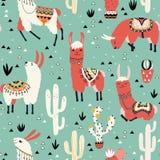 Lama's en cactus in een pot op groen Stock Fotografie