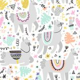 Lama Seamless Pattern Photographie stock