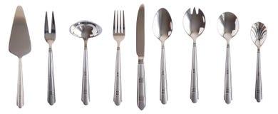 Lama stabilita d'argento della forcella del cucchiaio della tabella di cucina isolata Fotografia Stock Libera da Diritti