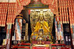 Lama Temple in Beijing. On the altar is Tsongkhapa in the Lama Temple of Beijing, China Royalty Free Stock Photos