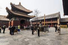 The Lama temple Beijing china. BEIJING, CHINA-MARCH 2014:-The Lama temple spiritual home for buddhists in China, March 2014 in Beijing. The Lama temple is open Royalty Free Stock Photos