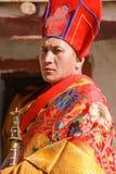 Lama in vestito convenzionale durante il ballo della maschera, cerimonia religiosa fotografia stock libera da diritti