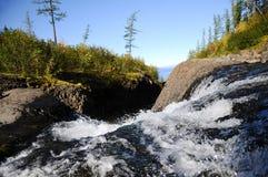 Lama waterfall. Lake Lama waterfall. Russia. Taimyr Stock Image