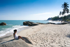 Lamai beach woman koh samui island thailand Stock Images
