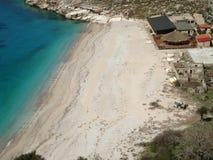 Lamana wyrzucać na brzeg, Ionian morze, Himara, Południowy Albania Fotografia Stock