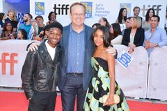 Lamar Johnson, Peter MacKenzie, Rachel Hilson at the `Kings` premiere at Toronto international film festival in Toronto TIFF17. L:R Lamar Johnson, Peter Stock Photography