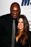 Lamar Odom, Khloe Kardashian arrives at the 19th Annual Race to Erase MS gala. LOS ANGELES - MAY 18: Lamar Odom, Khloe Kardashian arrives at the 19th Annual Race stock photo