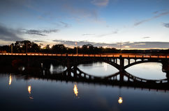 Lamarbrug in Austin tijdens zonsondergang Royalty-vrije Stock Afbeeldingen