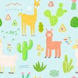 Lamas bezszwowy wzór Ręka Rysujący Dziecięcy tło z alpagą i kaktusami dla tkaniny tkaniny, Opakunkowy papier royalty ilustracja