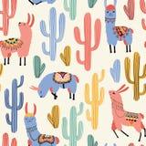 Lamas et cactus colorés Photographie stock libre de droits
