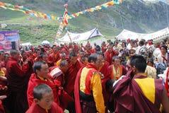 Lamas and local Tibetans Royalty Free Stock Image