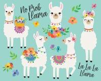Lamas mignons avec l'illustration de vecteur de fleurs de ressort illustration de vecteur