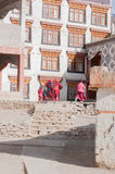 The lamas are running to the classroom in Leh, India Royalty Free Stock Images