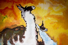 Lamas at sunset. An oil painting of two lamas in a sunset Stock Photos