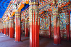 Lamasery hall. The temple hall of Langmusi Lamasery in Luqu, Gansu, China Royalty Free Stock Photo