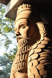 Lamassu. Outside Fire temple, that is workshipped Stock Photo