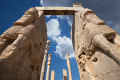 Lamassu Statues of Persepolis Against Blue Sky with White Clouds in Shiraz Royalty Free Stock Images