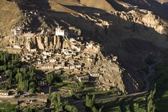Lamayuru buddhist monastery and village in Ladakh Royalty Free Stock Image