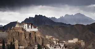 Lamayuru monastery in Ladakh, India. The second most ancient monastery in Ladakh region with storm clouds and overcast sky stock photo