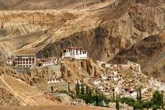 Lamayuru monastery, Ladakh, Jammu and Kashmir, India. Lamayuru monastery with view of moonland in background,Ladakh,Jammu and Kashmir, India stock photography