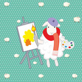 Lamb artist. Over green background Royalty Free Stock Photo