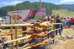 Lamb barbecue at Rozhen Fair,Bulgaria Stock Images