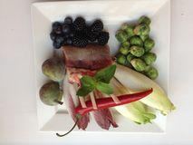 Lamb . beginning. Lamb . Figs , blackberries , mint and fresh chili peppers Royalty Free Stock Image