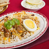 Lamb Biryani. Special occasion Indian curry, lamb biryani with egg, coriander, and red, yellow and white rice royalty free stock photos