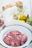 Lamb brains and ingredients for cooking them Stock Photo