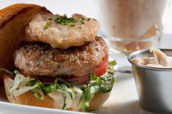 Lamb burger with yucca fries. And mayonnaise Royalty Free Stock Images