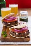 Lamb burgers stock photography