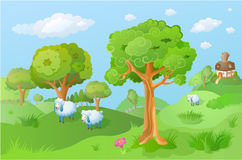 Lamb in the cartoon landscape Stock Images