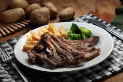 Lamb chop. With black pepper sauce Stock Photo